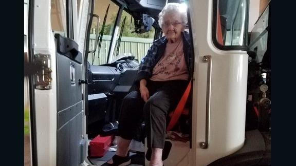 Margaret Newsum, 93, got a ride from her garbage collector, Dane Ray Cummings, to escape the Camp Fire.