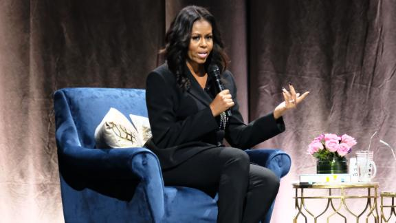 "WASHINGTON, DC - NOVEMBER 17: Former First Lady Michelle Obama discusses her new book ""Becoming"" at Capital One Arena on November 17, 2018 in Washington, DC. (Photo by Paul Morigi/Getty Images)"