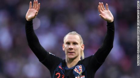 Croatia's Domagoj Vida of Croatia shows appreciation to the fans.