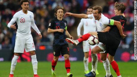 Harry Kane of England is challenged by Tin Jedvaj of Croatia during their UEFA Nations League A group four match.