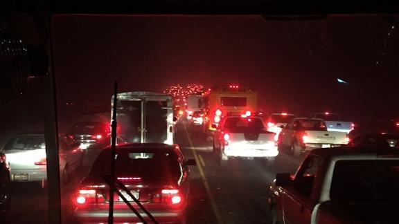 The bus was caught in the gridlock of hundreds of other vehicles trying to evacuate.