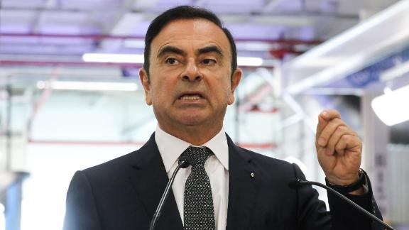 Chairman and CEO of Renault-Nissan-Mitsubishi Carlos Ghosn gestures as he delivers a speech during a visit of French President at the Renault factory, in Maubeuge, northern France, on November 8, 2018. - Macron is on a week-long tour to visit the most iconic French landmarks of the First World War, ahead of celebrations for the 100th anniversary of the November 11, 1918 armistice. (Photo by Ludovic MARIN / AFP)        (Photo credit should read LUDOVIC MARIN/AFP/Getty Images)