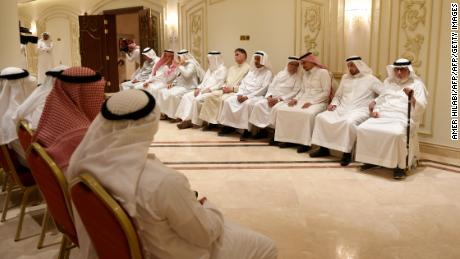 Salah Khashoggi (third from the right) and his relatives receive mourners at an events hall in the Saudi coastal city of Jeddah on November 16, 2018.