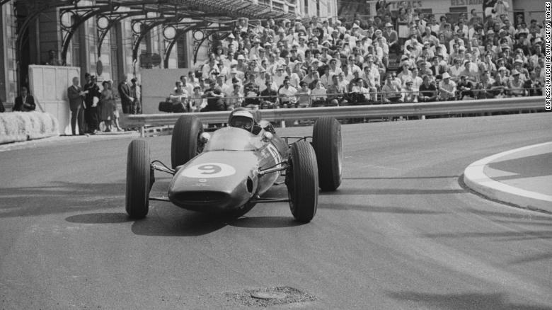 Scottish driver Jim Clark in the Lotus 25 at the 1963 Monaco Grand Prix.