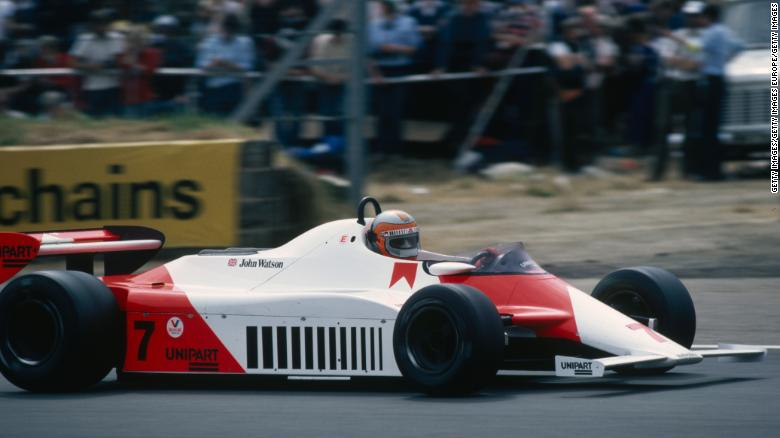 McLaren driver John Watson on his way to winning the 1981 British Grand Prix.