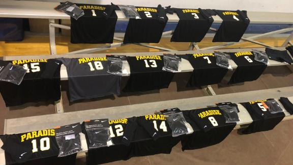 Donated new jerseys greeted each Paradise player, along with kneepads and other items.