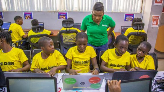 "Ajayi-Akinfolarin left her career to teach computer programming to girls in Lagos, where Facebook and Google opened offices earlier this year. A 2013 survey found that less than 8% of Nigerian women are employed in professional, managerial or technology jobs. Ajayi-Akinfolarin hopes to change that statistic. ""One thing I want my girls to hold onto is, regardless of where they are coming from, they can make it,"" she says. ""They are coders. They are thinkers. Their future is bright."""