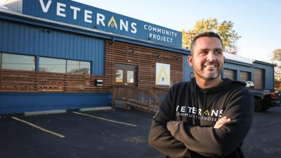 Army veteran Chris Stout helped found the Veterans Community Project in 2015. The nonprofit provides assistance and housing to homeless veterans in Kansas City.