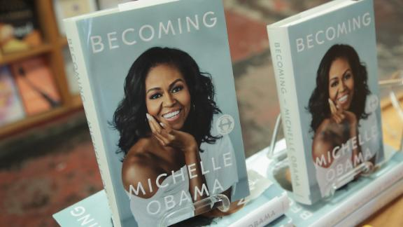 """""""Becoming,"""" a book by former first lady Michelle Obama, is displayed at the 57th Street Books bookstore on November 13, 2018 in Chicago, Illinois."""