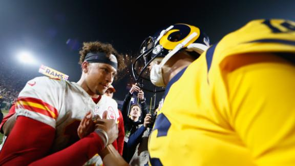 Kansas City Chiefs Quarterback Patrick Mahomes and Los Angeles Rams Quarterback Jared Goff