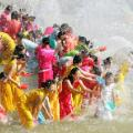 water splashing festival on Lancan-Mekong