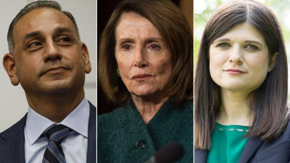 Pictured above, Rep.-elect Gil Cisneros of California, at left, House Democratic Leader Nancy Pelosi at center, and Rep.-elect Haley Steven of Michigan at right.