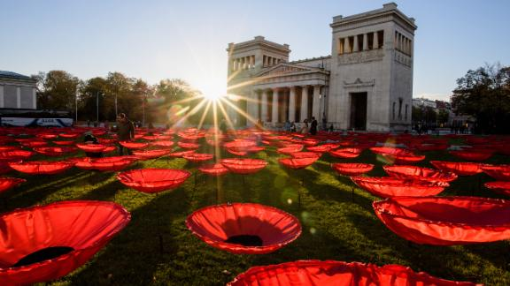 """Munich, Germany: """"Never Again,"""" a work by artist Walter Kuhn to mark the 100th anniversary of the end of World War I, fills Munich"""