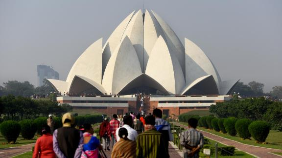 """New Delhi: The Lotus Temple, made up of 27 free-standing marble-clad """"petals,"""" is a Bahá"""