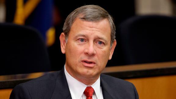 FILE - In this Sept. 19, 2014, file photo, U.S. Supreme Court Chief Justice John Roberts speaks at the University of Nebraska Lincoln, in Lincoln, Nebraska.