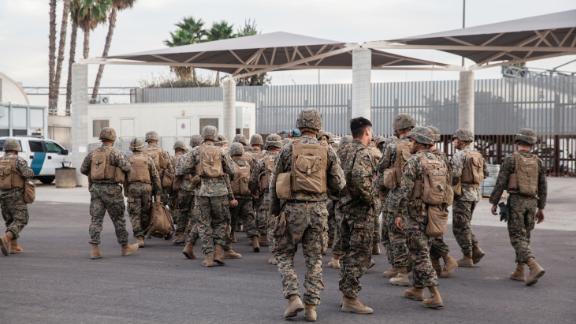 After working throughout the day securing the U.S.-Mexico border members of the U.S. Military get ready for a drill near the Otay Mesa Port of Entry, California on November 15, 2018.