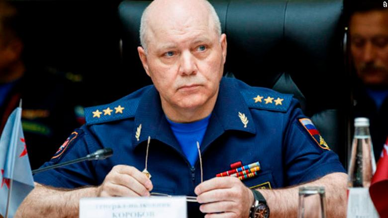 Igor Korobov, the head of the Russian military intelligence agency GRU, speaks during a news conference in Auhust 2017.