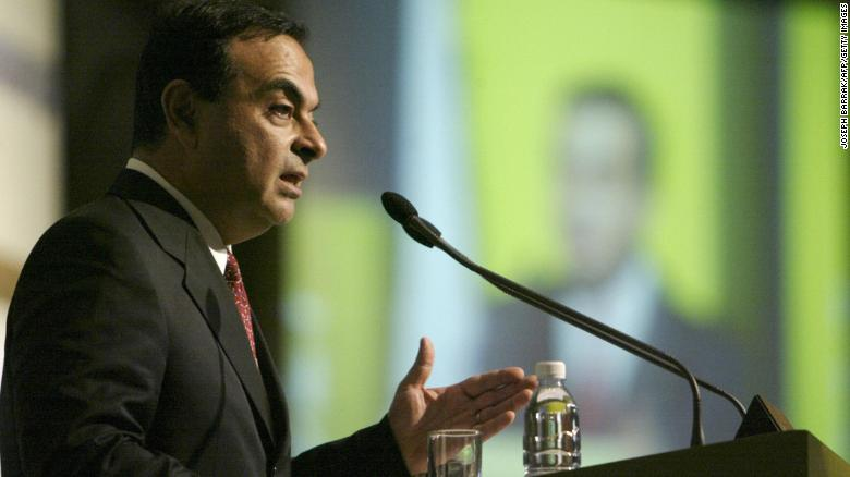 Carlos Ghosn addresses an audience during a conference in Beirut in 2003.