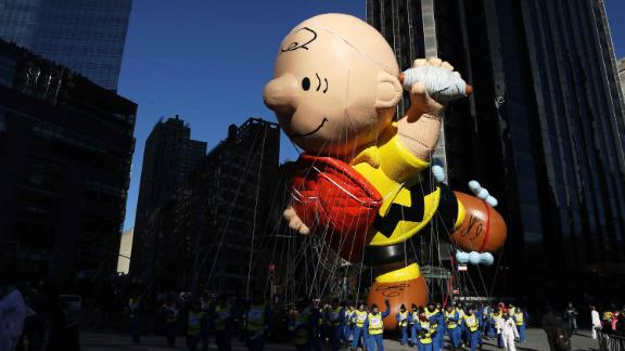A float hovers above the crowd during the Macy's Thanksgiving Day Parade in Manhattan,New York, U.S., November 22, 2018. REUTERS/Brendan McDermid