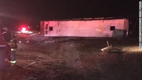 Icy road conditions may have contributed to the crash, police said.