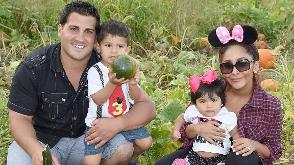 "The family of Jionni LaValle, Lorenzo Lavalle, Giovanna LaValle and Nicole ""Snooki"" Polizzi, shown here in September 2015 in Long Valley, New Jersey, grew. The ""Jersey Shore"" star gave birth to baby number three, son Angelo, in May 2019."