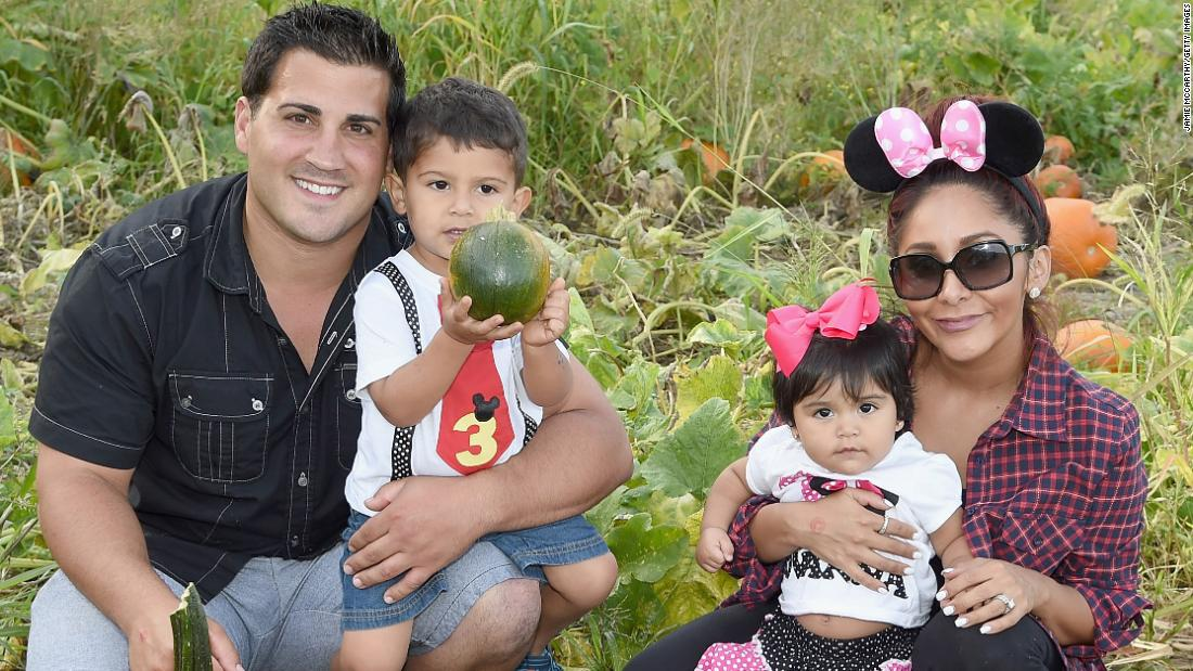"The family of Jionni LaValle, Lorenzo Lavalle, Giovanna LaValle and Nicole ""Snooki"" Polizzi, shown here in September 2015 in Long Valley, New Jersey, will be growing. The ""Jersey Shore"" star announced on Thanksgiving that she is pregnant with baby number three."