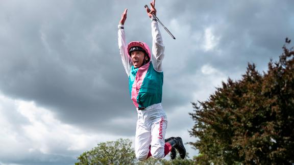 YORK, ENGLAND - AUGUST 25: Frankie Dettori leaps from Expert Eye after winning The Sky Bet City Of York Stakes at York Racecourse on August 25, 2018 in York, United Kingdom. (Photo by Alan Crowhurst/Getty Images)