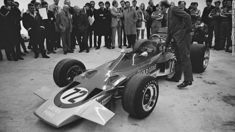 The new Formula One racing car, the Lotus 72, designed by Colin Chapman and Maurice Philippe of Lotus.