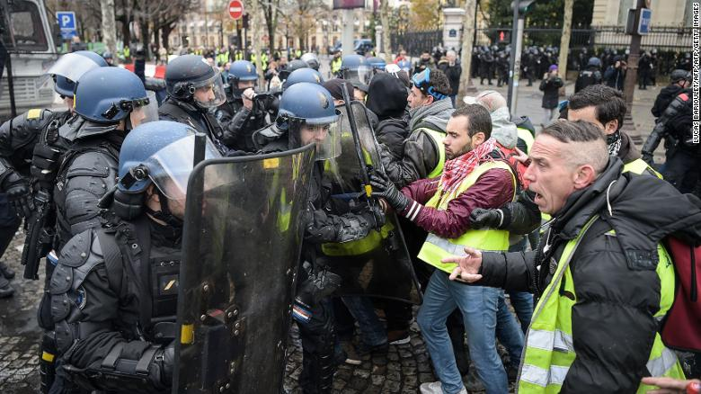 The protests have morphed into a wider demonstration against Emmanuel Macron's government.
