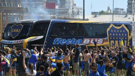 93099a1eb Picture released by Telam showing fans greeting Boca Juniors players as  their bus leaves their hotel