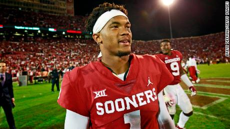 Quarterback Kyler Murray of the Oklahoma Sooners walks off the field after the game against the Army Black Knights in Norman, Oklahoma, in September. Murray is the seventh Sooner to win the Heisman Trophy.