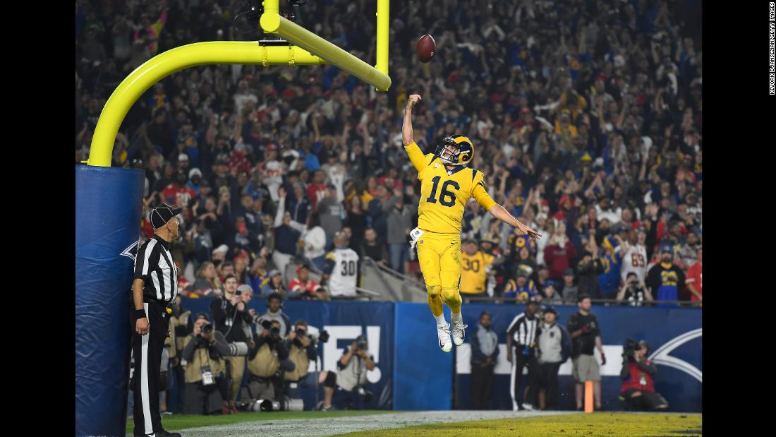 Quarterback Jared Goff of the Los Angeles Rams celebrates his touchdown during the third quarter of the game against the Kansas City Chiefs on Monday, November 19 in Los Angeles. The Rams won 54-51 in the third-highest-scoring affair in NFL history.