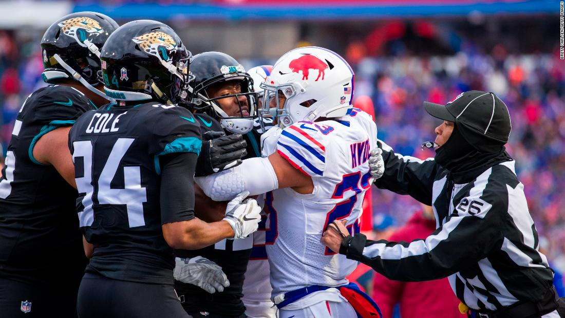 Dede Westbrook of the Jacksonville Jaguars shoves Micah Hyde of the Buffalo Bills following a play in the third quarter which initiated a bench-clearing brawl between both teams on Sunday, November 25 in Orchard Park, New York. Buffalo defeated Jacksonville 24-21.