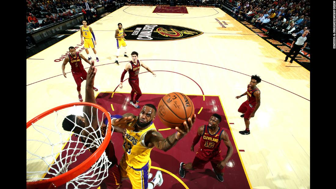 LeBron James of the Los Angeles Lakers shoots the ball against the Cleveland Cavaliers on Wednesday, November 21 in Cleveland, Ohio.
