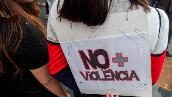 Women in Santiago, Chile, protest against gender-based violence on the International Day for the Elimination of Violence against Women on Sunday.