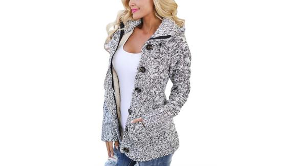 Sidefeel Women Hooded Knit Cardigans Button Cable Sweater Coat ($29.99-$41.99, amazon.com)