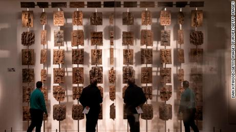 LONDON, ENGLAND - NOVEMBER 22: Plaques that form part of the Benin Bronzes are displayed at The British Museum on November 22, 2018 in London, England. The British Museum has agreed to loan the plaques back to a new museum in Benin City in Nigeria.