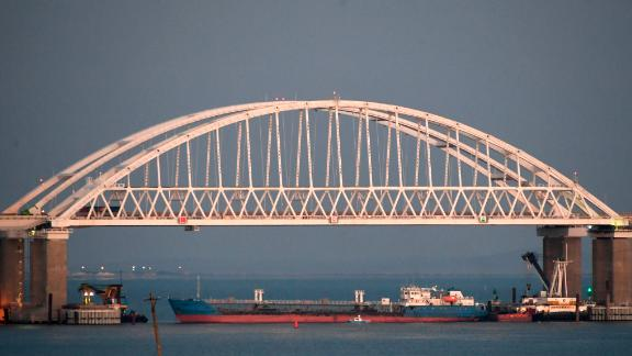 A ship under the the Kerch bridge blocks the passage to the Kerch Strait near Kerch, Crimea, on Sunday.