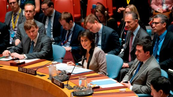 Nikki Haley during a United Nations Security Council meeting on Ukraine on Monday in New York.