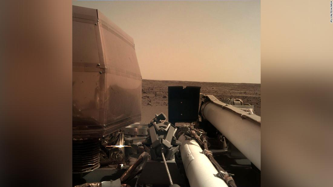 InSight took this image on November 26, 2018, as it was deploying its solar arrays.