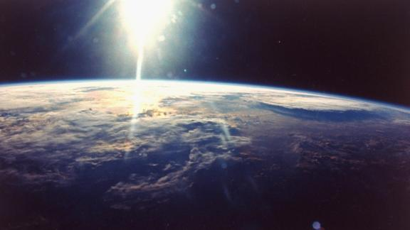 View of sunlight over Earth taken from space shuttle Discovery VIII mission.  (Photo by Time Life Pictures/NASA/The LIFE Picture Collection/Getty Images)
