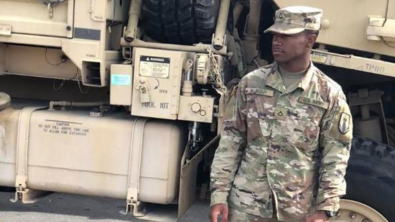 Rashad Billingsley in Army fatigues
