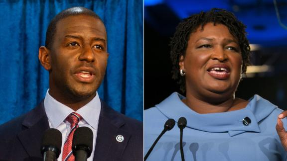 LEFT: TALLAHASSEE, FL - NOVEMBER 10: Florida gubernatorial candidate Andrew Gillum holds a press conference on November 10, 2018 in Tallahassee, Florida. Three close midtern election races for governor, senator, and agriculture commissioner are expected to be recounted in Florida.  (Photo by Mark Wallheiser/Getty Images)  RIGHT: ATLANTA, GA - NOVEMBER 06:  Democratic Gubernatorial candidate Stacey Abrams addresses supporters at an election watch party on November 6, 2018 in Atlanta, Georgia.  Abrams and her opponent, Republican Brian Kemp, are in a tight race that is too close to call.  A runoff for Georgia's governor is likely.  (Photo by Jessica McGowan/Getty Images)