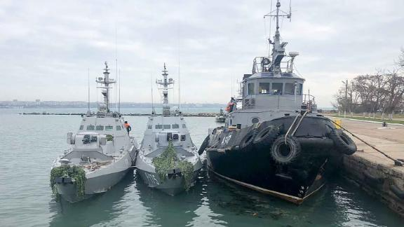 CRIMEA, RUSSIA - NOVEMBER 26, 2018: The Nikopol gunboat, the Berdyansk gunboat, and the Yany Kapu tugboat (L-R) of the Ukrainian Navy tugged to the Kerch Seaport. On November 25, 2018, three Ukrainian Navy vessels illegally crossed the Russian border and intruded into Russia's territorial waters. Crimean Branch of the Russian Federal Security Service/TASS (Photo by TASS\TASS via Getty Images)