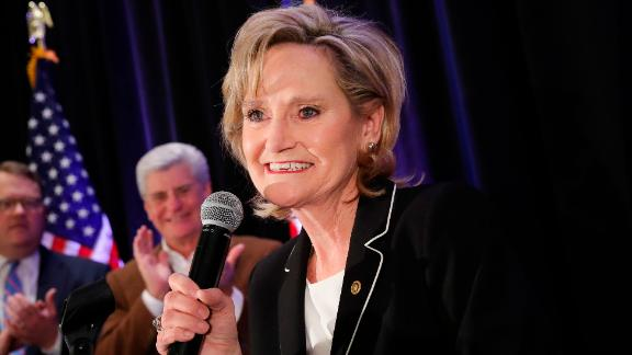 JACKSON, MS - NOVEMBER 27: U.S. Senator Cindy Hyde-Smith (R-MS) speaks during an election night event at The Westin Hotel, November 27, 2018 in Jackson, Mississippi. Hyde-Smith defeated Democratic candidate Mike Espy in Tuesday