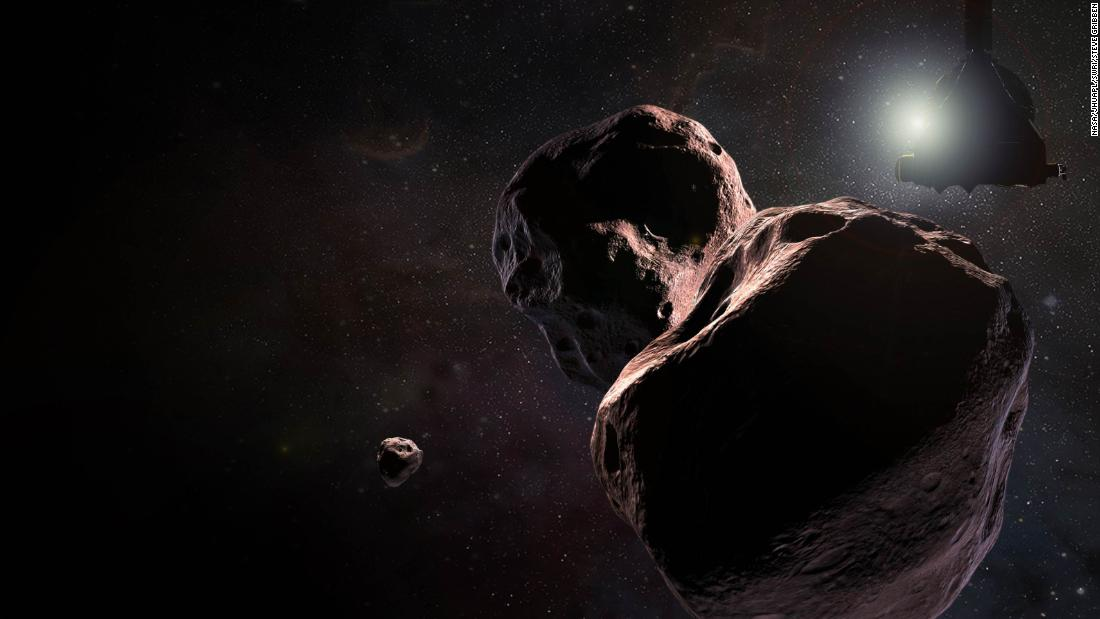 "Artist's impression of NASA's New Horizons spacecraft encountering 2014 MU69, a Kuiper Belt object that orbits one billion miles (1.6 billion kilometers) beyond Pluto. The object nicknamed ""Ultima Thule"" will be the most primitive and most distant world ever explored by spacecraft. It has orbited undisturbed since the birth of the solar system 4.5 billion years ago."