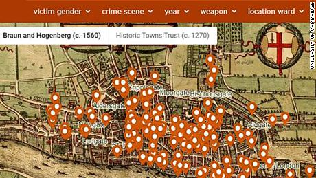 Map City London.Medieval London Murder Map Reveals The City S Deadliest Spots Cnn