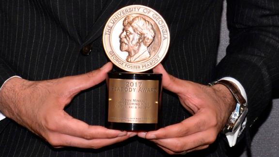 Comedian Hasan Minhaj poses in the Press Room during The 77th Annual Peabody Awards Ceremony at Cipriani Wall Street in New York, NY, on May 19, 2018.