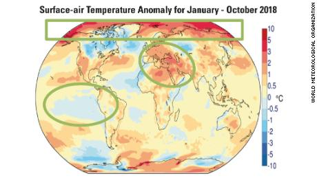 Global average temperature anomalies for 2018. Notable climate features that are evident in the image include persistent heat over Europe and Northern Africa, a weak La Niña in the Pacific and continued warmth over the Arctic.