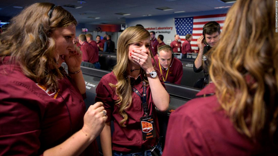 "NASA personnel react after receiving confirmation that the InSight lander had <a href=""https://www.cnn.com/2018/11/26/world/nasa-insight-mars-landing-today/index.html"" target=""_blank"">successfully touched down on the surface of Mars</a> on Monday, November 26. It took InSight seven months to get there. ""Today, we successfully landed on Mars for the eighth time in human history,"" NASA Administrator Jim Bridenstine said. ""InSight will study the interior of Mars and will teach us valuable science as we prepare to send astronauts to the Moon and later to Mars."""